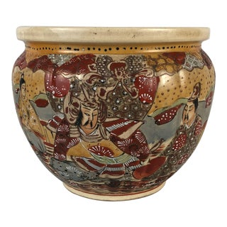 Late 19th Century Antique Japanese Meiji Era Satsuma Moriage Planter For Sale