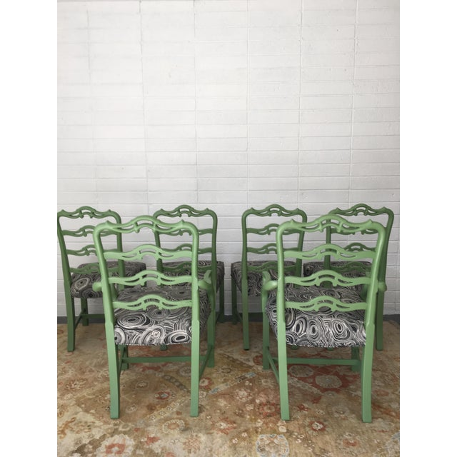 Green Chippendale Black Geode Upholstered Dining Chairs - Set of 6 For Sale - Image 4 of 10