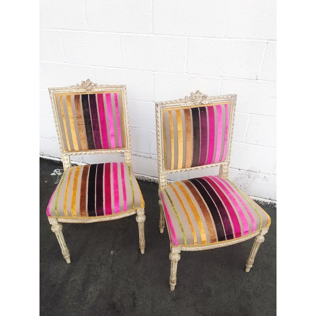Antique French 19th Century Louis XVI Side or Hall Chairs - Set of 2 For Sale - Image 4 of 11