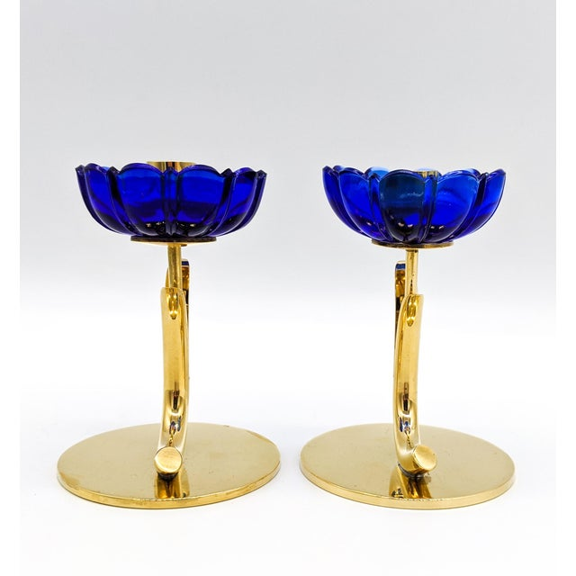 1950s Mid-Century Swedish Gunnar Ander for Ystad-Metall Cobalt Blue Glass Flower & Brass Candleholders - a Pair For Sale In Houston - Image 6 of 12