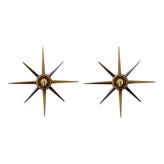 Mid-Century Danish Modern Wall-Mount Brass Candle Sconces - a Pair For Sale