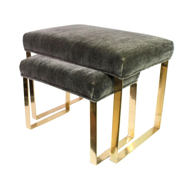2010s Hollywood Regency Brass & Vintage Sage Green Alpaca Mohair Bench - Small For Sale - Image 5 of 8