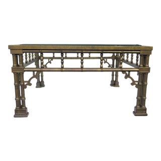 Vintage Glazed Faux Bamboo Coffee Table For Sale