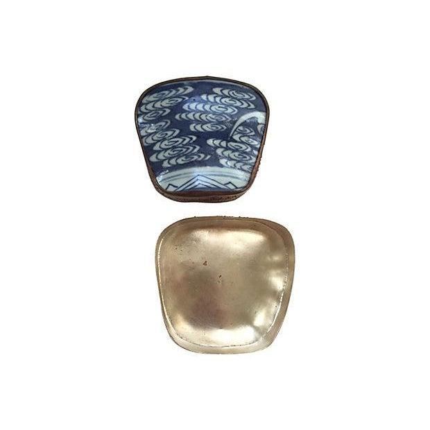 Asian Blue & White Porcelain Silver Metal Trinket Box For Sale - Image 5 of 6