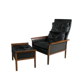 Model 924 Leather Lounge Chair & Ottoman - A Pair