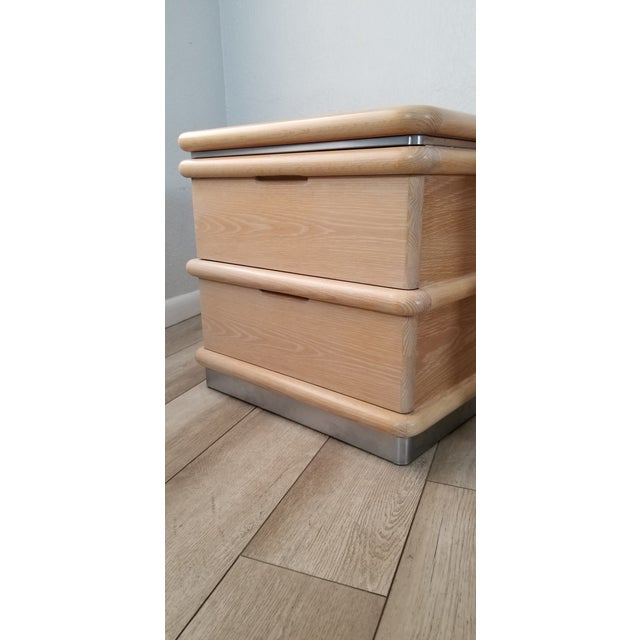 Postmodern Blonde Oak Nightstands by Jay Spectre - Pair. For Sale - Image 12 of 13