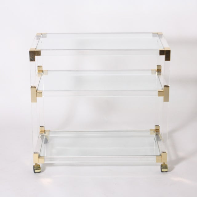 French Lucite, Glass & Brass 3 Tier Table C. 1970 For Sale In Dallas - Image 6 of 6