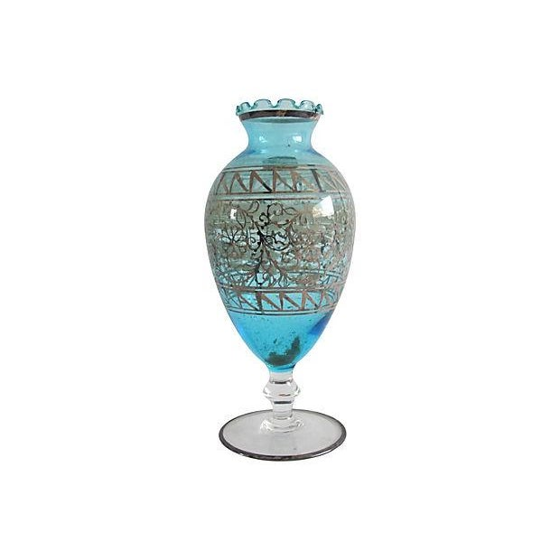 Teal Murano Glass & Gilded Sterling Vase - Image 1 of 4