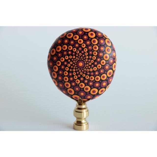 Rustic Mandala Stone Lamp Finials - a Pair For Sale - Image 3 of 6