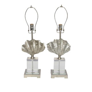 Lucite, Chrome and Silver Leaf Shell Lamps, 2000 America For Sale