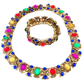 20th Century Etruscan Style Gold Molded Glass Choker Necklace & Bracelet - a Pair For Sale