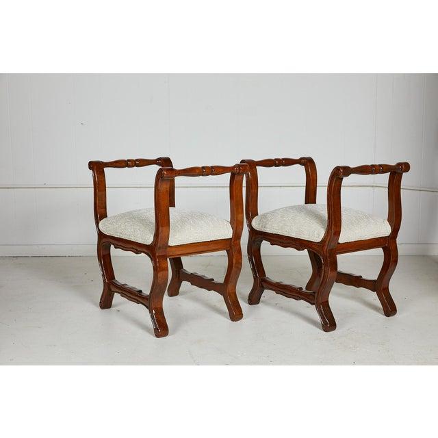 Wood Pair of Italian Provençal Walnut Stools For Sale - Image 7 of 13