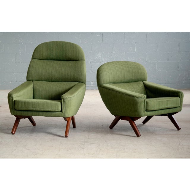 Mid-Century Modern Pair of Danish Illum Wikkelso Style High and Low Lounge Chairs by Leif Hansen For Sale - Image 3 of 13