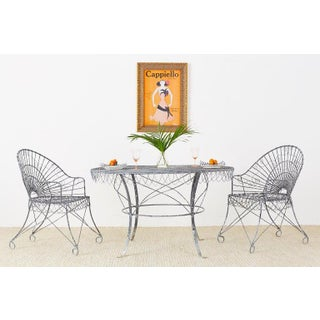 French Wrought Iron and Wire Garden Dining Table Preview