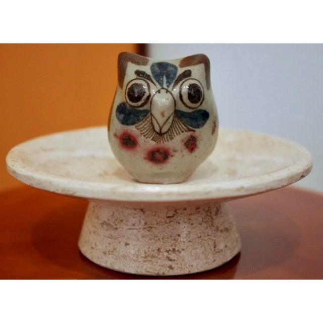 Blue Jorge Wilmot Miniature Pottery Owl on Travertine Pedestal For Sale - Image 8 of 8
