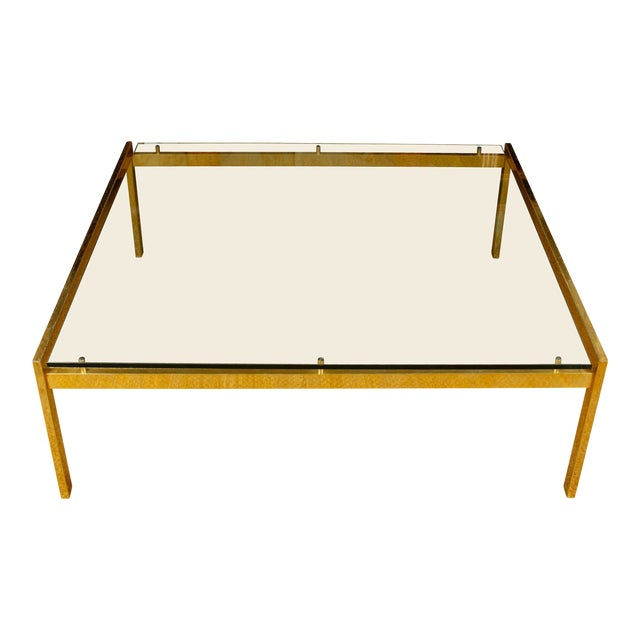 Large Mid-Century Modern Brass and Glass Square Table For Sale