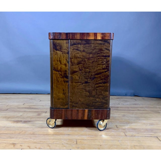 Metal 1930s Rootwood & Rosewood Bar Cabinet With Intarsia For Sale - Image 7 of 11