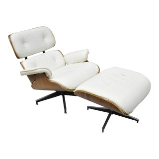 White Eames Style Lounge Chair & Ottoman - A Pair
