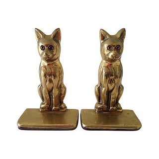 Mid-Century Brass Cat Bookends