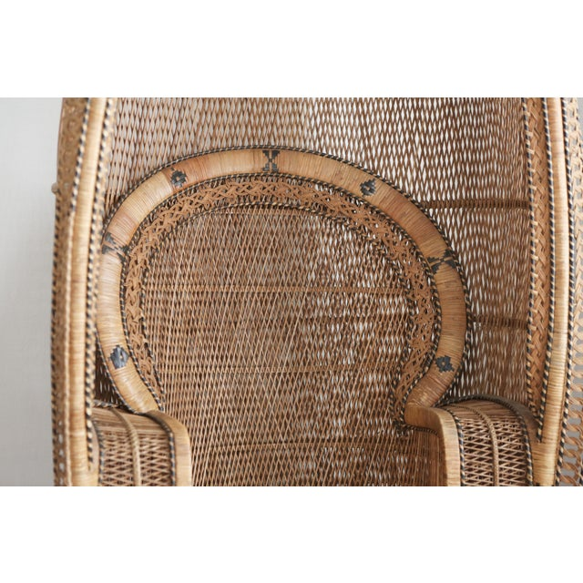 Brown Vintage Rattan and Wicker Peacock Chair For Sale - Image 8 of 10