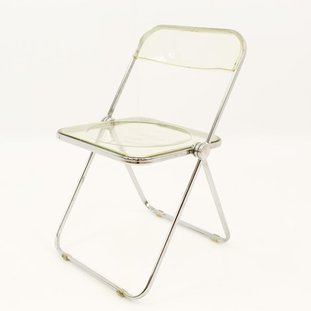 Vintage Mid Century Anonima Castelli Italian Lucite Folding Chairs- Set of 6 For Sale - Image 9 of 11
