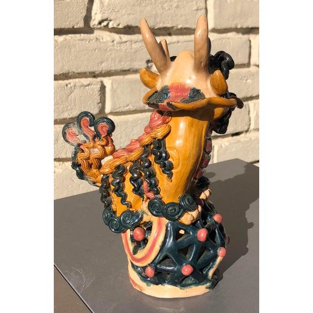 Multicolored Vibrant Vintage Clay Ceramic Chinoiserie Foo Dog Lion Dragon For Sale In Dallas - Image 6 of 7