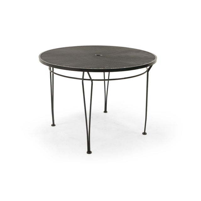 Russell Woodard Outdoor Dining Table, Black Wrought Iron, Subtle Curved Legs For Sale In Kansas City - Image 6 of 6