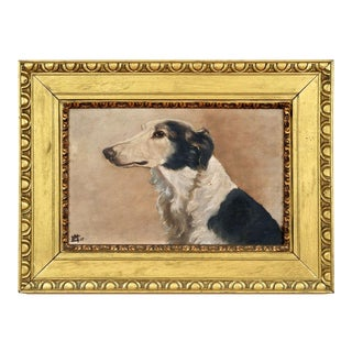 Early 20th Century British School Dog Portrait of a Borzoi Oil Painting For Sale