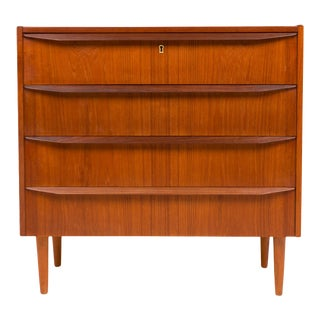 1960s Danish Mid-Century Four Drawer Teak Lowboy Dresser For Sale
