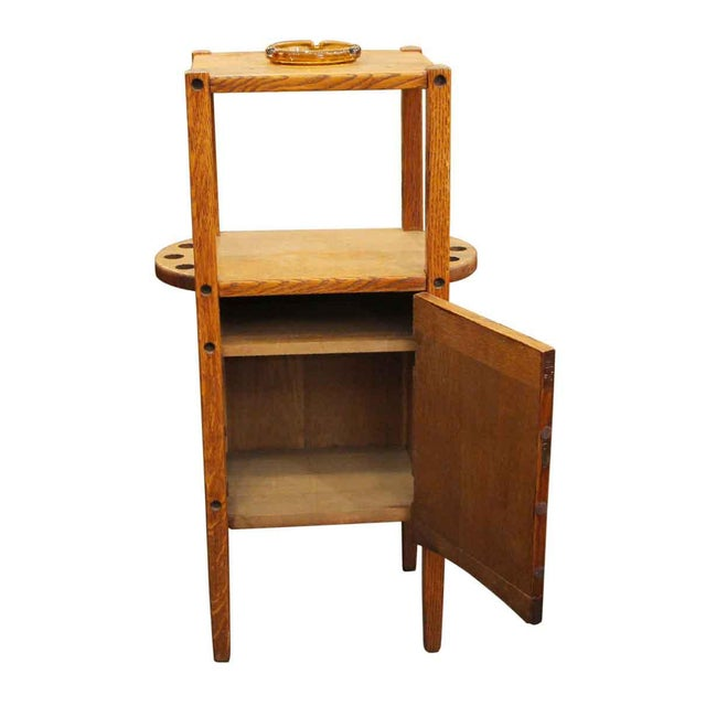 Arts & Crafts 20th Century Arts and Crafts Humidor Oak Pipe & Ashtray Stand For Sale - Image 3 of 8