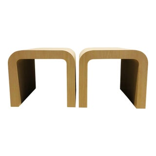 Laminate Waterfall Side Tables- a Pair For Sale