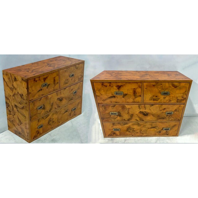Pair of Patchwork Burl Campaign Style Chests For Sale In Atlanta - Image 6 of 6