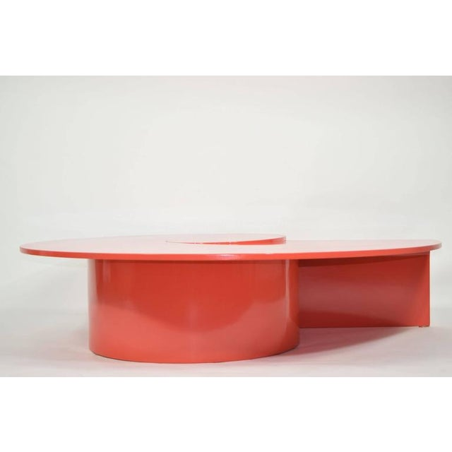 Red Fabulous Statement Coffee Table in Red/Orange Lacquer For Sale - Image 8 of 9