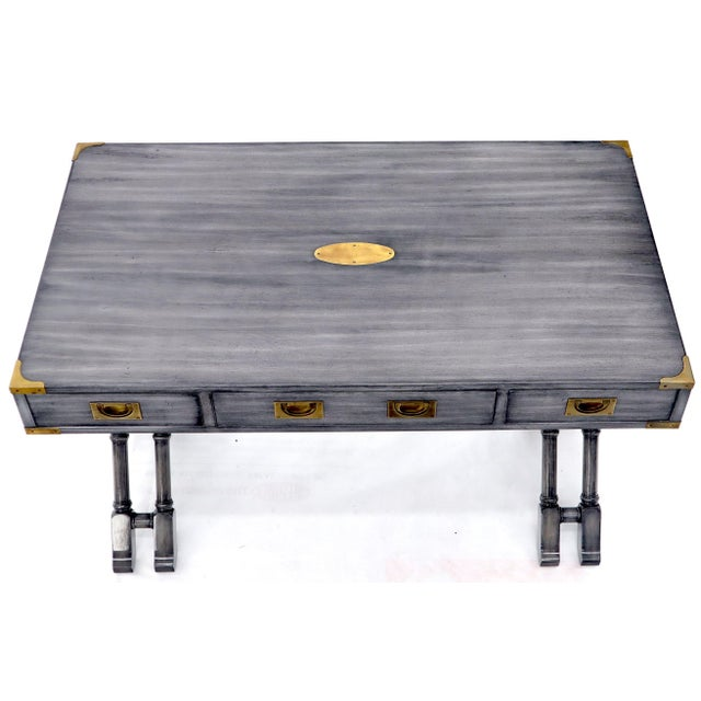 Wood Horn Tone Neutral Finish X Base Campaign Desk with Brass Hardware For Sale - Image 7 of 13