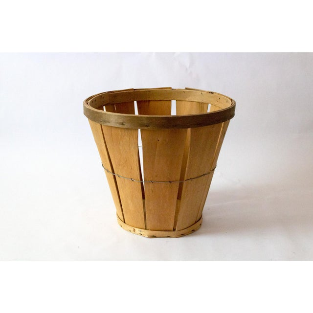 Country 1950s French Country Wood Apple Basket For Sale - Image 3 of 5