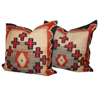 Monumental Navajo Indian Weaving Pillows /Pair For Sale