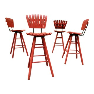 Vintage Arthur Umanoff Style Red Slat Bar Stools ~ Set of Four For Sale