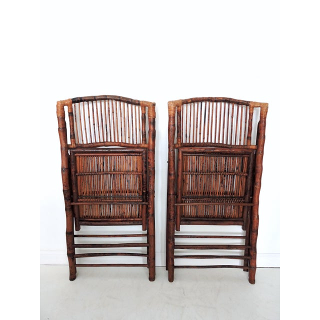 Bamboo Vintage Folding Bamboo & Cane Dining/Side Chairs - a Pair (4 Pairs Avialable) For Sale - Image 7 of 8