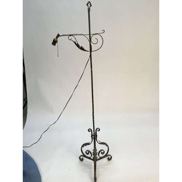 American Antique Wrought Iron Floor Lamp For Sale - Image 3 of 13