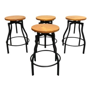 Industrial Adjustable Height Bar Stools Set of Four For Sale