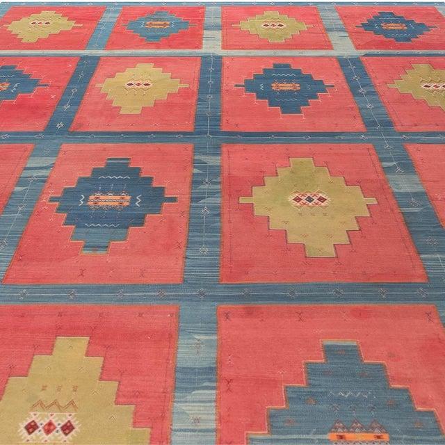 Islamic Blue, Pink and Sandy Beige Vintage Turkish Kilim Rug For Sale - Image 3 of 9