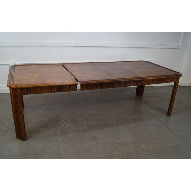 Faux Bamboo Parquet Top Extension Dining Table For Sale - Image 7 of 10