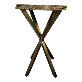 Organic Modern Petrified Wood and Chrome Accent Table For Sale
