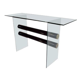 Pace Collection Glass and Steel Console Table For Sale