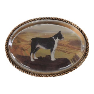 Oval Shape Glass Paperweight Depicting a Boston Terrier Dog For Sale