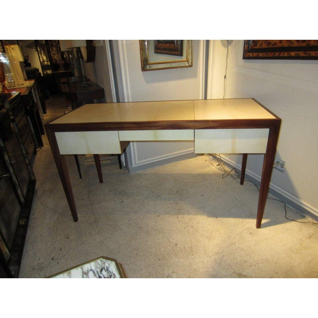 Custom parchment and mahogany writing desk, this desk is custom made. It can be crafted in your choice of wood and finish,...