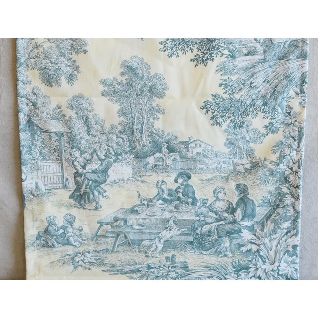 "Textile Custom French Farmhouse Country Toile Table Runner 110"" Long For Sale - Image 7 of 9"