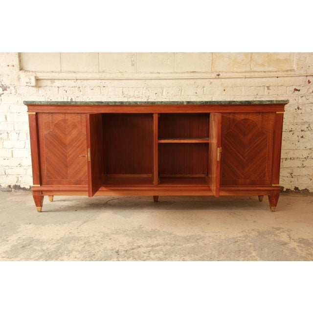 1940's French Mahogany & Marble Sideboard For Sale - Image 4 of 11