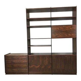 Mid Century Rosewood Wall Unit From Norway For Sale