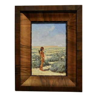 Frank Sauerwein -Indian Boy in Navajo Country -Important Oil Painting 1904 For Sale